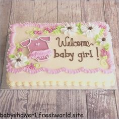 + Ideas for Baby Shower Cakes for Boys and Girls - Cake Decorating Writing Ideen Torta Baby Shower, Tortas Baby Shower Niña, Girl Shower Cake, Décoration Baby Shower, Baby Shower Sheet Cakes, Baby Shower Cakes For Boys, Baby Shower Parties, Baby Shower Gifts, Rodjendanske Torte