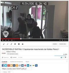 Il rapinatore mascherato da Renzi ...oltre 4000 visualizzazioni in Italia in una notte dopo il primo giorno di pubblicazione su Youtube ... GUARDA IL VIDEO COMPLETO QUI : https://youtu.be/c7EMTLjNLuI #beirreverent #pakkiano
