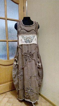 Платья ручной работы. Ярмарка Мастеров - ручная работа. Купить Платье кокон изо льна а ля обшарпе. Handmade.