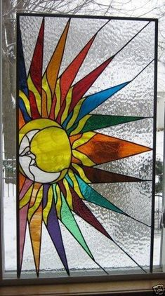 Sun and Moon Stained Glass Window #StainedGlassMoon