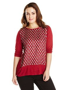 Lucky Brand Women's Plus-Size Ditzy Woodblock Top, Red/Multi, 1X