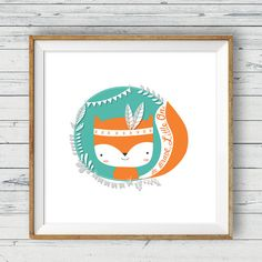 Fox nursery art Instant download 10x10 Tribal par LlamaCreation