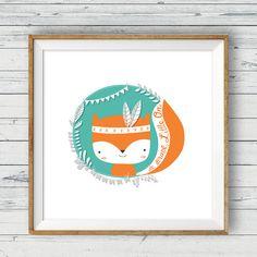 Fox nursery art Instant download 10x10 Tribal par LlamaCreation