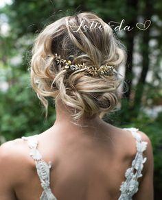 Boho Gold Hair Half Halo Hair Vine Vintage Style Flower Hair