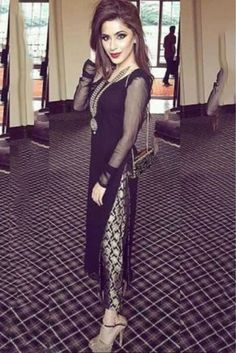 Georgette Party Wear Straight Suit in Black Colour.It comes with matching Dupatta and Bottom.It is crafted with Embroidery. Pakistani Suit With Pants, Pakistani Outfits, Indian Outfits, Churidar, Anarkali, Salwar Kameez, Lehenga, Indian Attire, Indian Wear