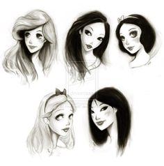 someone's interpretation of disney girls... kinda cute in their own way