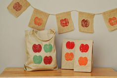 Decorating with apple stamps; crafts for kids from sheknows.com
