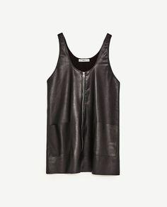 Black leather look dress, Zara. Spring Trends 2017