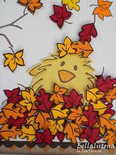 DeNami Chickie in Leaves card by Lisa #autumn #fall