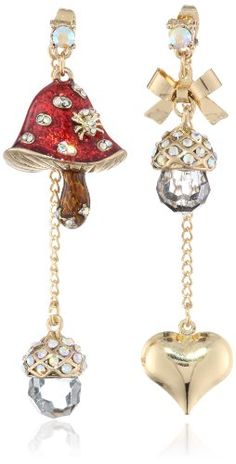 "Betsey Johnson ""Enchanted Forest"" Mushroom and Heart Mismatch Drop Earrings Betsey Johnson,http://www.amazon.com/dp/B00DRCGWD2/ref=cm_sw_r_pi_dp_5SUptb1EXSC0PYW7"