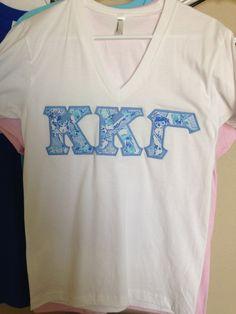Lilly Pulitzer Kappa Kappa Gamma Sorority Stitch Letter Shirt