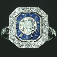 Vintage Blue Sapphire Diamond Engagement Ring Art Deco Jewelry