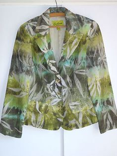 CARTISE Elegant Green Shiny Veil Abstract Design Women Blazer/jacket Size 8 (6US  a vendre dans ma boutique ebay