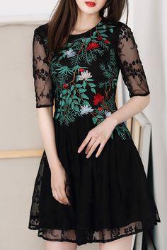 Gauze Spliced Embroidered Dress