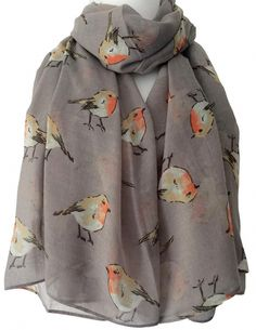 Large grey scarf with a red Robin print long and wide light weight and very soft Measurements approx 75 inch 187 cm in length approx 38 inch 95 cm Cat Scarf, Grey Scarf, Long Scarf, Christmas Scarf, Prom Accessories, Butterfly Scarf, Draped Fabric, Scarfs, Scarf Wrap
