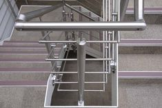 Stainless steel handrail fittings suitable for the construction of external banisters and handrails. Steel Stairs, Steel Gate, Stainless Steel Stair Railing, Handrail Fittings, Banisters, Railings, Laminated Glass, Sofa Set, Glass Panels