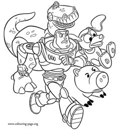 in this awesome coloring page buzz lightyear is accompanied by his friends rex hamm - Buzz Lightyear Coloring Pages Free