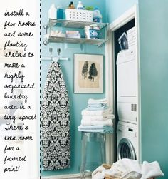 Small space ideas for an organized laundry area