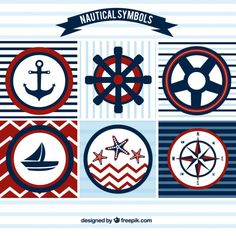 Sailing badges in red and blue colors Free Vector Sailor Party, Sailor Theme, Baby Shower Themes, Baby Boy Shower, Nautical Party, Nautical Quilt, Shark Party, Scrapbooking, Deco Table