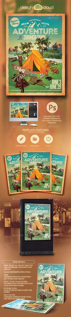 Adventure Summer Camp Flyer Template PSD. Download here: http://graphicriver.net/item/adventure-summer-camp-flyer-template/15855799?ref=ksioks
