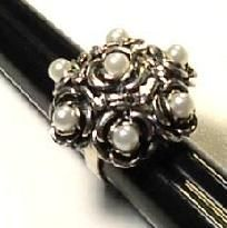 Beautiful Pearl Flower Sterling Silver (92.5) Ring. Size: 6.5 to 8, adjust. Hand Forged. Makes a wonderful gift. Comes with a gift box.  FREE SHIPPING US ONLY!