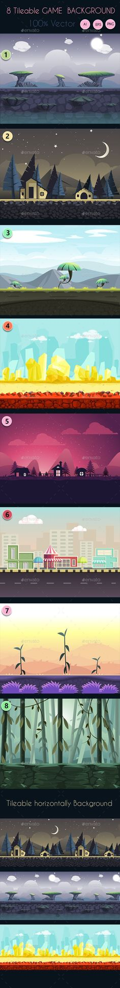 8 Tileable Vector Game Background: