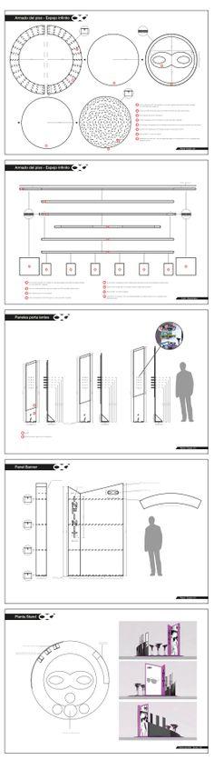 Planos técnicos de estudio de materiales, armado y medidas del Stand Infitnit