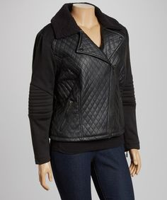 Look at this Black Quilted Faux Fur-Trim Moto Jacket - Plus on #zulily today!