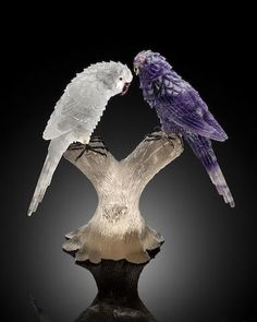 Amethyst, Rock Crystal and Smoky Quartz Carving of a Pair of Parrots