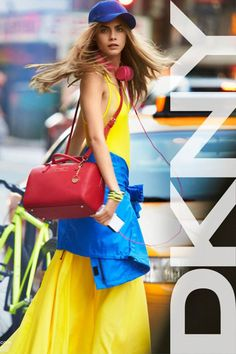 Yellow maxi dress with blue cobalt and red touch for DKNY SS 2013.