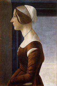 Sandro Botticelli - Ritratto di giovane donna, Portrait of a Young Woman, c. 1475, Tempera on Panel, 61 x 40 cm, Palazzo Pitti, Florence Italy