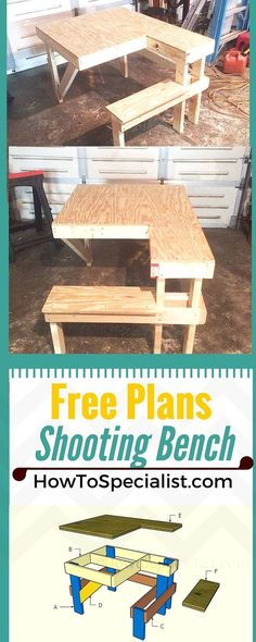 Bench Plans How to build a shooting bench - Step by step plans and instructions for you to learn how to make a wood shooting table!How to build a shooting bench - Step by step plans and instructions for you to learn how to make a wood shooting table! Woodworking Bench Plans, Woodworking Basics, Woodworking For Kids, Woodworking Patterns, Popular Woodworking, Woodworking Crafts, Woodworking Furniture, Woodworking Workshop, Woodworking Shop