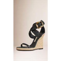 Burberry Buckle Detail Suede Wedges (€645) ❤ liked on Polyvore featuring shoes, sandals, suede shoes, suede platform sandals, woven wedge sandals, platform sandals and wedges shoes