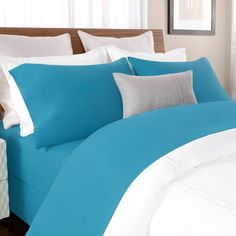 Briarwood Home 100% Cotton Solid Percale Sheet Set Size: Cal King, Color: Blue