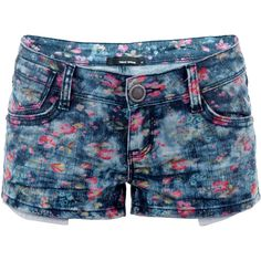 Shorts ($25) ❤ liked on Polyvore featuring shorts, bottoms, pants, short, jean shorts, denim shorts, flower shorts, short shorts and short jean shorts