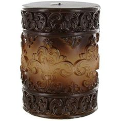 "Universal Candle Company 3"" x 4"" Brown Fade Embossed Fleur-De-Lis Pillar Candle 
