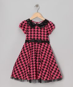 Take a look at this Pink & Black Houndstooth Dress - Toddler & Girls by Youngland on #zulily today!