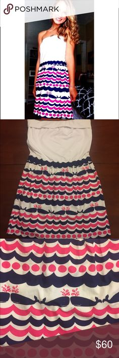 Strapless Lilly Pulitzer dress Strapped nautical navy and pink dress; great condition Lilly Pulitzer Dresses