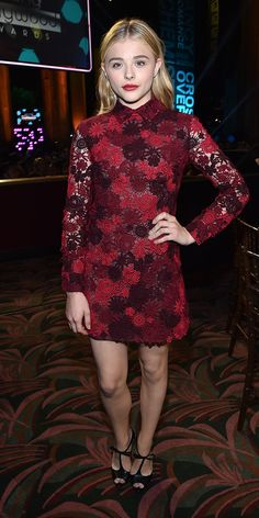 Chloe Grace Moretz is a vision in this red and burgundy floral number. // #Fashion
