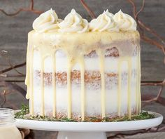 SPIKED EGGNOG CAKE This rum spiked Eggnog Cake with cream cheese frosting and white chocolate ganache is just the aspect to heat you up this holiday season! route Dessert Recipe for Christmas and New Year Cake Köstliche Desserts, Christmas Desserts, Christmas Baking, Delicious Desserts, Dessert Recipes, Christmas Cakes, Christmas Dinner Dessert Ideas, Best Thanksgiving Desserts, Dinner Ideas