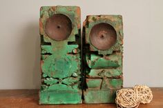 Set of 2 Distressed Green Handcarved by hammerandhandimports, $149.00