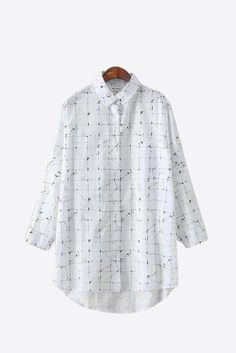 Vintage Plaid Pattern Blouse In White. Free first class word wide shipping. Customer service: help@moooh.net