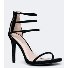 Anne Michelle Strappy High Heel Sandal (535 ARS) ❤ liked on Polyvore featuring shoes, sandals, heels, black stilettos, strappy sandals, black strap sandals, strap heel sandals and strappy high heel sandals