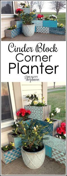 DIY Stenciled L-Shaped Cinder Block Planter Tutorial