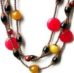 Long Multi Strand Necklace/ Bright Colorful by ALFAdesigns on Etsy, $79.99