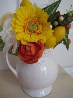WHITE PITCHER Centerpiece by Four Season Wreaths on ebay