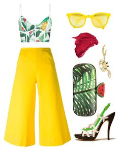 """Tropical fun"" by dominosfalldown ❤ liked on Polyvore featuring Duskii, M Missoni, Sunpocket, Yvonne Léon, Bally, tropicalprints and hottropics"