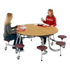 """Round Mobile Stool Cafeteria Table w/ Chrome Legs (60"""" Diameter) by Midwest Folding Products. $979.99"""