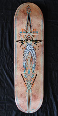 Custom Skateboard Deck with a Southwestern Native American style and Angular style pinstriping.
