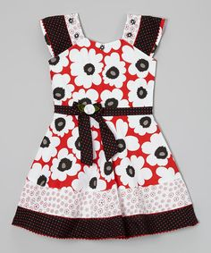This Black & Red Floral Tiered A-Line Dress - Toddler & Girls by Roberto Toscani is perfect! #zulilyfinds